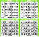 4 ON - 1 Up Bingo Paper